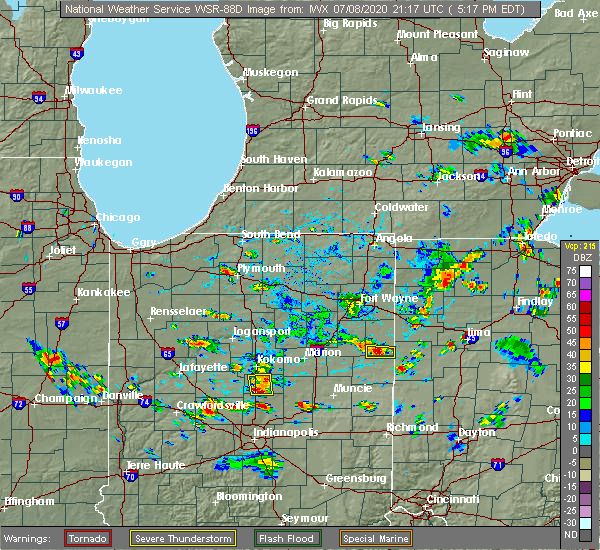 Radar Image for Severe Thunderstorms near Geneva, IN at 7/8/2020 5:32 PM EDT