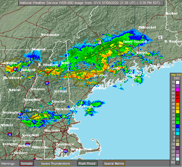 Radar Image for Severe Thunderstorms near North Conway, NH at 7/8/2020 5:44 PM EDT
