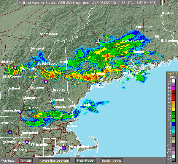 Radar Image for Severe Thunderstorms near North Conway, NH at 7/8/2020 6:01 PM EDT