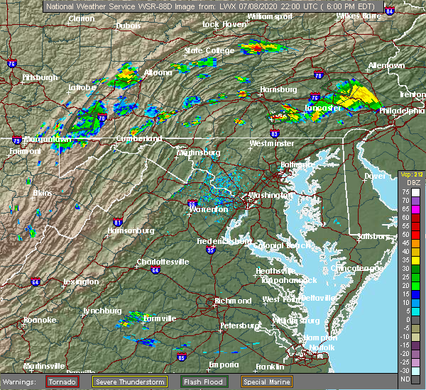 Radar Image for Severe Thunderstorms near York, PA at 7/8/2020 6:04 PM EDT