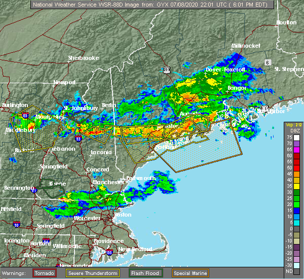 Radar Image for Severe Thunderstorms near North Conway, NH at 7/8/2020 6:12 PM EDT