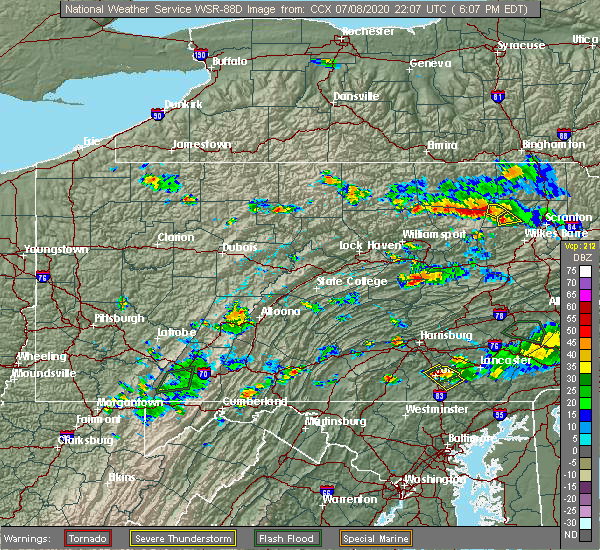 Radar Image for Severe Thunderstorms near Pillow, PA at 7/8/2020 6:12 PM EDT