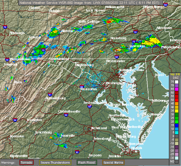 Radar Image for Severe Thunderstorms near Shiloh, PA at 7/8/2020 6:16 PM EDT