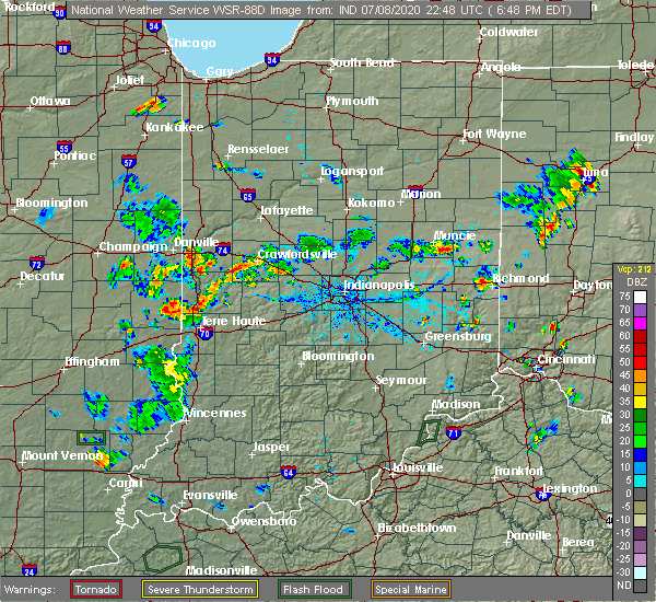 Radar Image for Severe Thunderstorms near Paris, IL at 7/8/2020 5:55 PM CDT