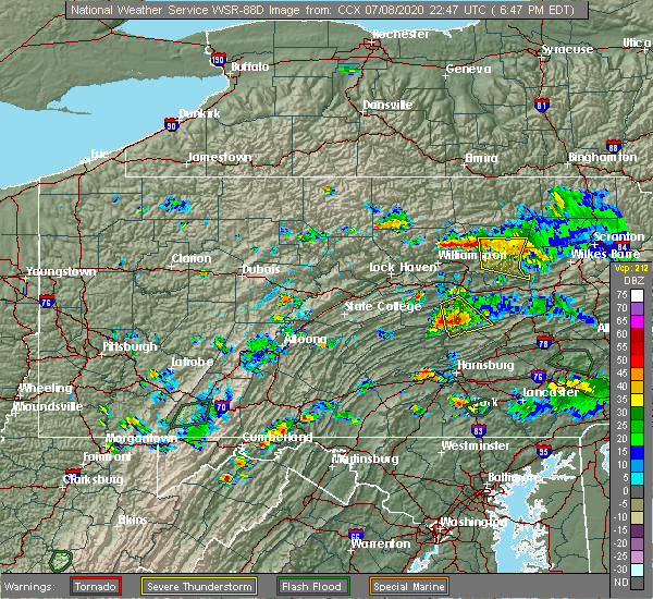 Radar Image for Severe Thunderstorms near Mount Pleasant Mills, PA at 7/8/2020 6:57 PM EDT