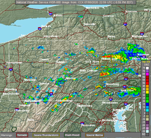 Radar Image for Severe Thunderstorms near Picture Rocks, PA at 7/8/2020 7:01 PM EDT