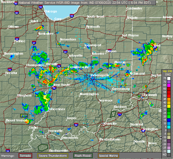 Radar Image for Severe Thunderstorms near Paris, IL at 7/8/2020 6:06 PM CDT