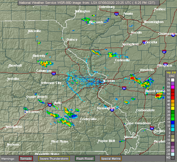 Radar Image for Severe Thunderstorms near Greenville, IL at 7/8/2020 6:30 PM CDT