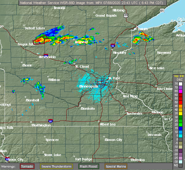 Radar Image for Severe Thunderstorms near Hewitt, MN at 7/8/2020 6:46 PM CDT