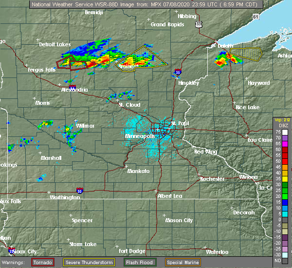 Radar Image for Severe Thunderstorms near Merrifield, MN at 7/8/2020 7:01 PM CDT