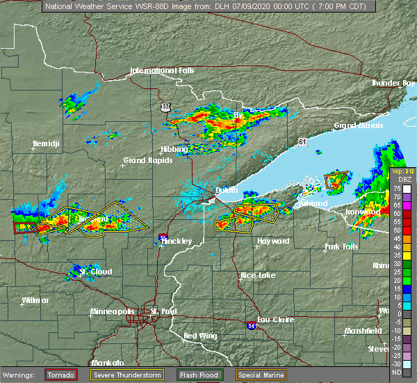 Radar Image for Severe Thunderstorms near Cuyuna, MN at 7/8/2020 7:05 PM CDT