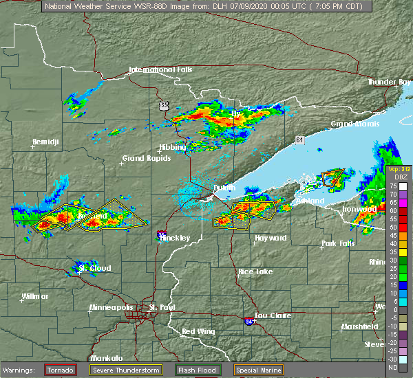 Radar Image for Severe Thunderstorms near Cuyuna, MN at 7/8/2020 7:08 PM CDT