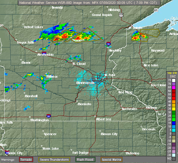 Radar Image for Severe Thunderstorms near Merrifield, MN at 7/8/2020 7:10 PM CDT