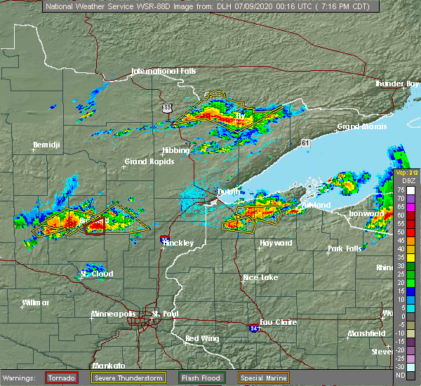 Radar Image for Severe Thunderstorms near Cuyuna, MN at 7/8/2020 7:21 PM CDT