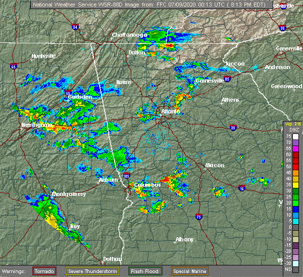 Radar Image for Severe Thunderstorms near Buford, GA at 7/8/2020 8:25 PM EDT