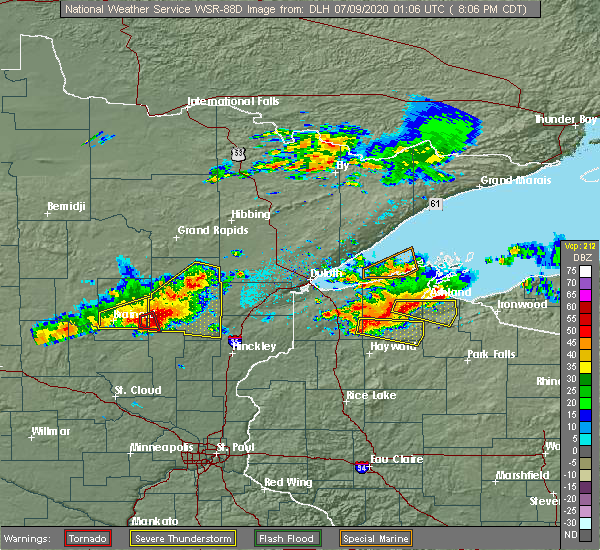 Radar Image for Severe Thunderstorms near Merrifield, MN at 7/8/2020 8:12 PM CDT