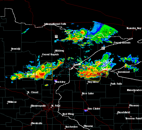 Radar Image for Severe Thunderstorms near Merrifield, MN at 7/8/2020 8:26 PM CDT