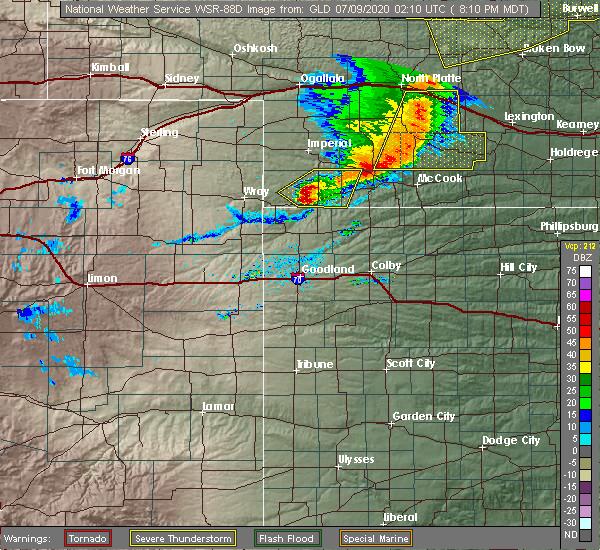 Radar Image for Severe Thunderstorms near Benkelman, NE at 7/8/2020 9:17 PM CDT