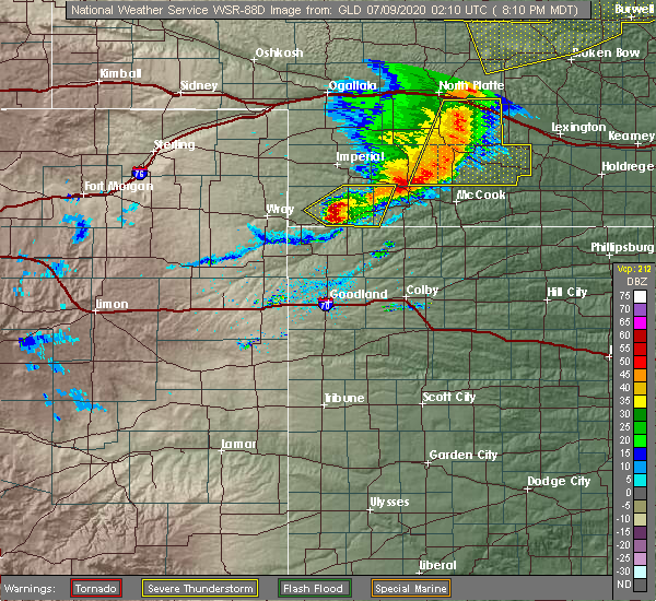 Radar Image for Severe Thunderstorms near Oberlin, KS at 7/8/2020 9:17 PM CDT