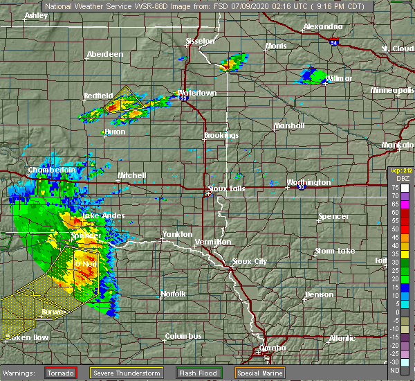 Radar Image for Severe Thunderstorms near Royal, NE at 7/8/2020 9:20 PM CDT