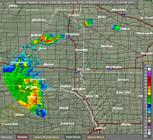 Radar Image for Severe Thunderstorms near Royal, NE at 7/8/2020 9:30 PM CDT