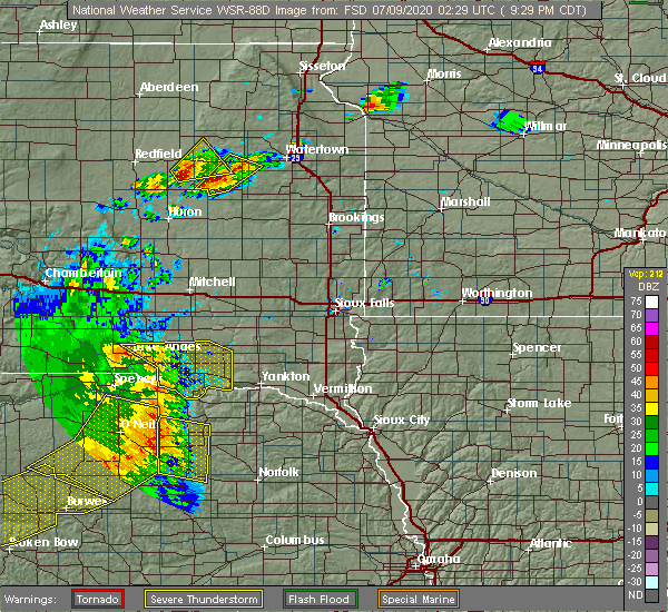 Radar Image for Severe Thunderstorms near Springfield, SD at 7/8/2020 9:31 PM CDT