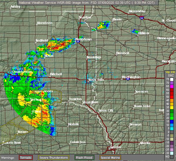 Radar Image for Severe Thunderstorms near Royal, NE at 7/8/2020 9:40 PM CDT