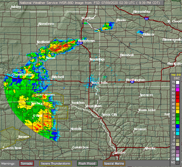 Radar Image for Severe Thunderstorms near Verdigre, NE at 7/8/2020 9:43 PM CDT