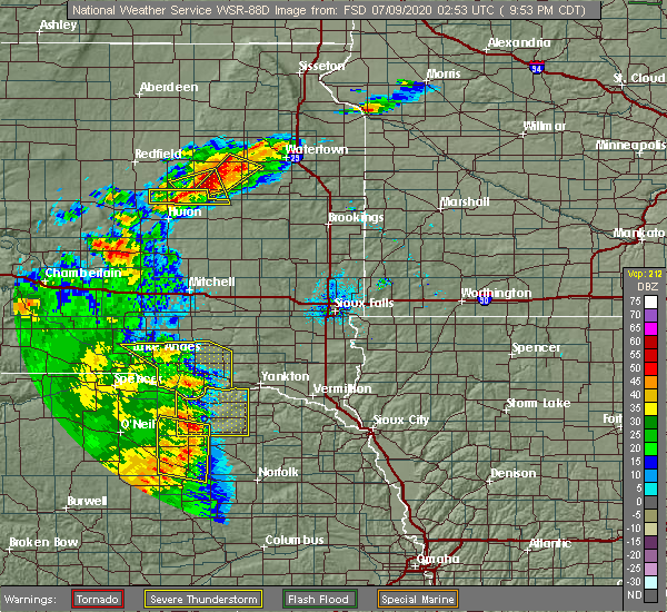 Radar Image for Severe Thunderstorms near Springfield, SD at 7/8/2020 9:57 PM CDT