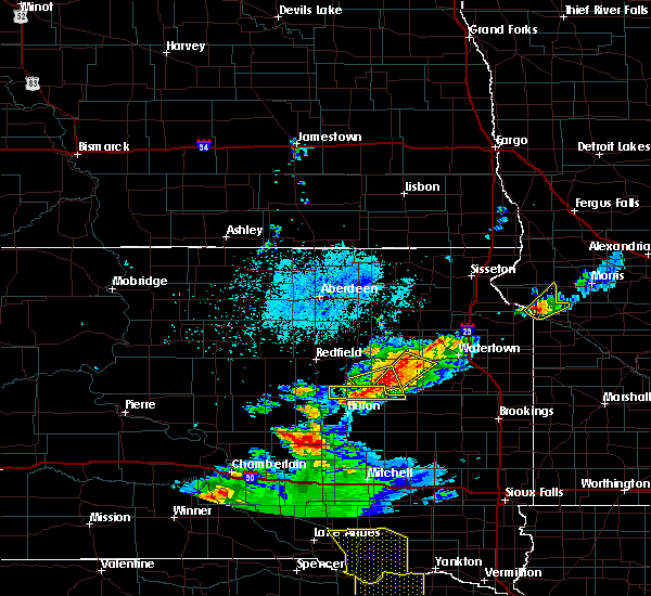 Radar Image for Severe Thunderstorms near Huron, SD at 7/8/2020 10:05 PM CDT