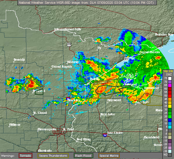 Radar Image for Severe Thunderstorms near Minong, WI at 7/8/2020 10:09 PM CDT