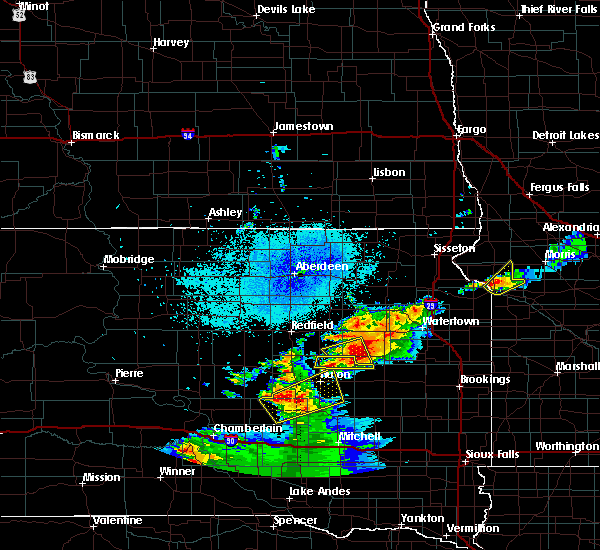 Radar Image for Severe Thunderstorms near Huron, SD at 7/8/2020 10:22 PM CDT