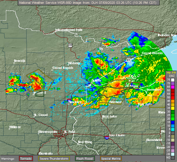 Radar Image for Severe Thunderstorms near Cuyuna, MN at 7/8/2020 10:29 PM CDT