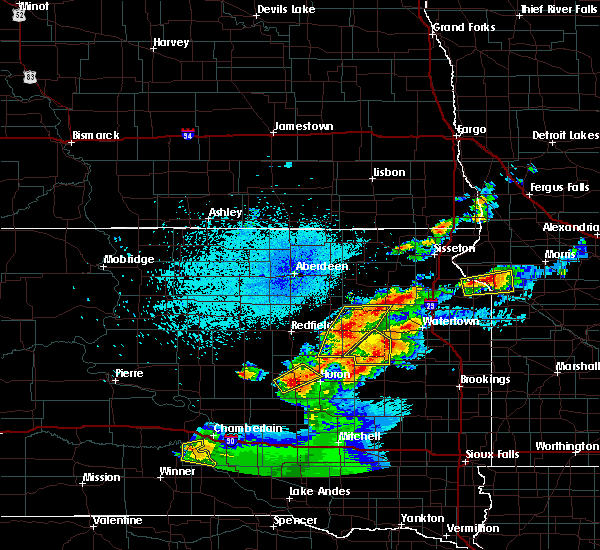 Radar Image for Severe Thunderstorms near Huron, SD at 7/8/2020 10:49 PM CDT