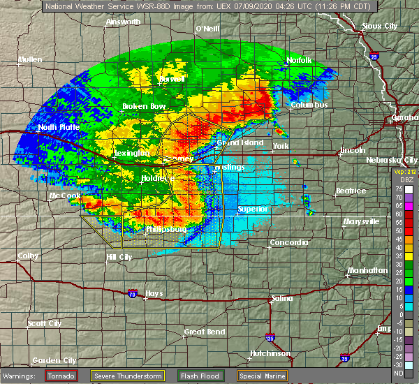 Radar Image for Severe Thunderstorms near Riverton, NE at 7/8/2020 11:29 PM CDT