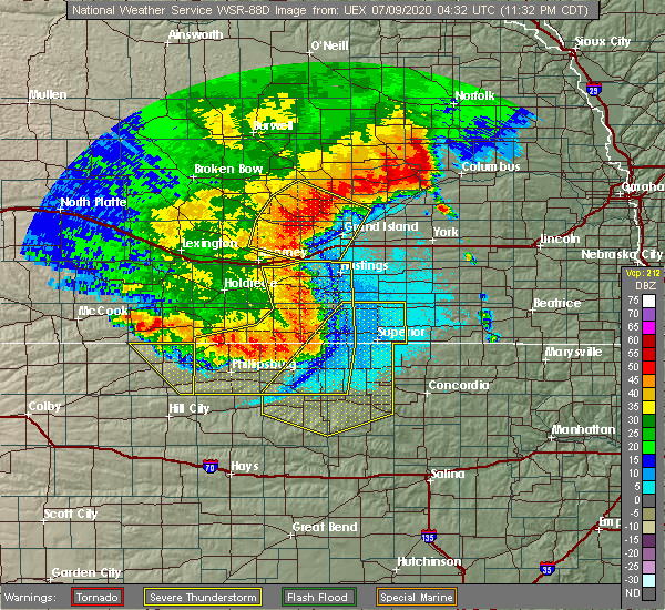 Radar Image for Severe Thunderstorms near Webber, KS at 7/8/2020 11:34 PM CDT