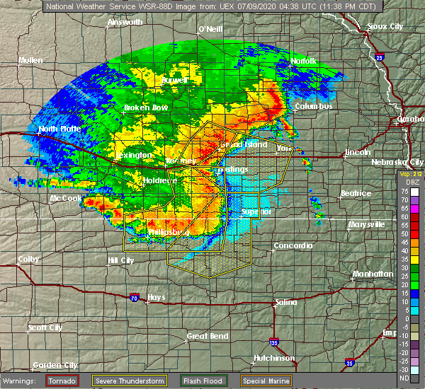 Radar Image for Severe Thunderstorms near Ong, NE at 7/8/2020 11:46 PM CDT