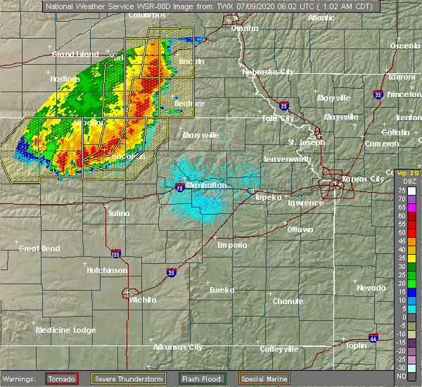 Radar Image for Severe Thunderstorms near Miltonvale, KS at 7/9/2020 1:04 AM CDT