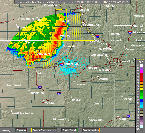 Radar Image for Severe Thunderstorms near Miltonvale, KS at 7/9/2020 1:27 AM CDT