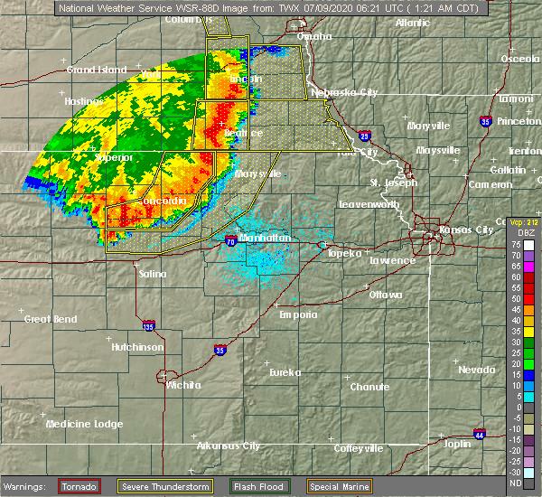 Radar Image for Severe Thunderstorms near Morrowville, KS at 7/9/2020 1:27 AM CDT