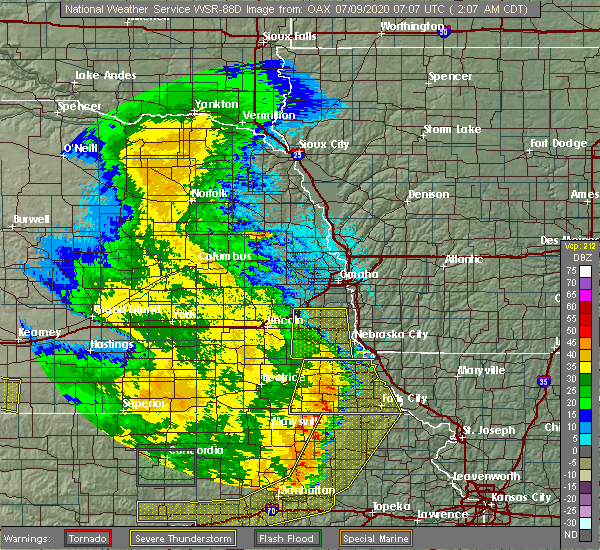 Radar Image for Severe Thunderstorms near Forest City, MO at 7/9/2020 2:12 AM CDT