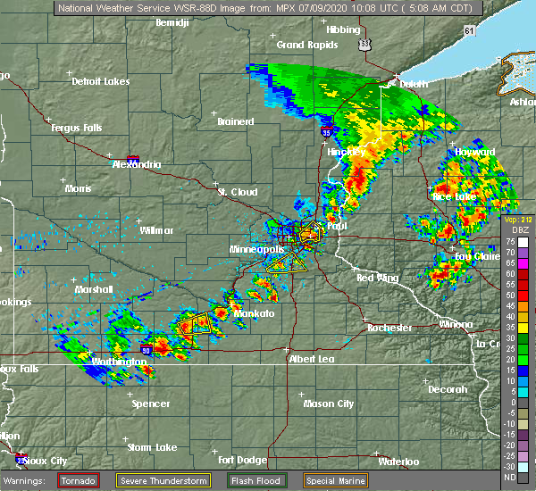 Radar Image for Severe Thunderstorms near Mahtomedi, MN at 7/9/2020 5:10 AM CDT