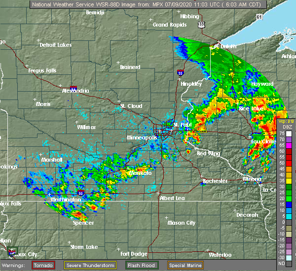 Radar Image for Severe Thunderstorms near St. Marys Point, MN at 7/9/2020 6:10 AM CDT