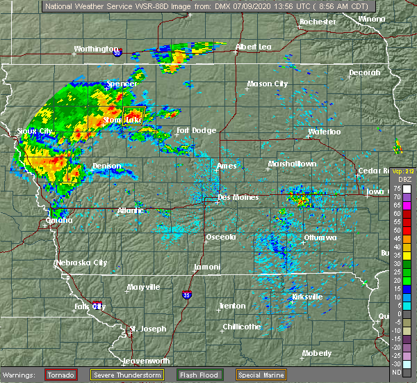 Radar Image for Severe Thunderstorms near Havelock, IA at 7/9/2020 9:04 AM CDT