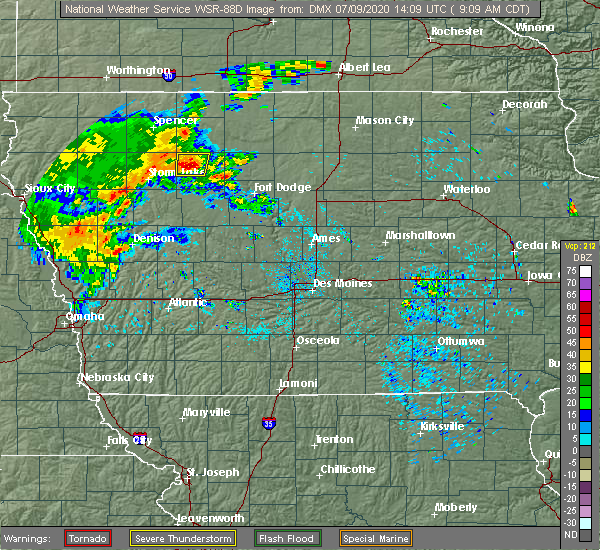 Radar Image for Severe Thunderstorms near Havelock, IA at 7/9/2020 9:13 AM CDT