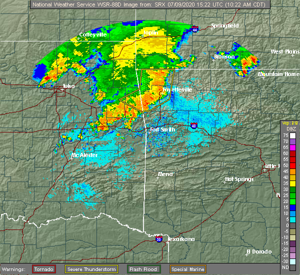 Radar Image for Severe Thunderstorms near Bethel Heights, AR at 7/9/2020 10:24 AM CDT