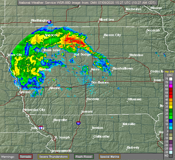 Radar Image for Severe Thunderstorms near Britt, IA at 7/9/2020 10:29 AM CDT