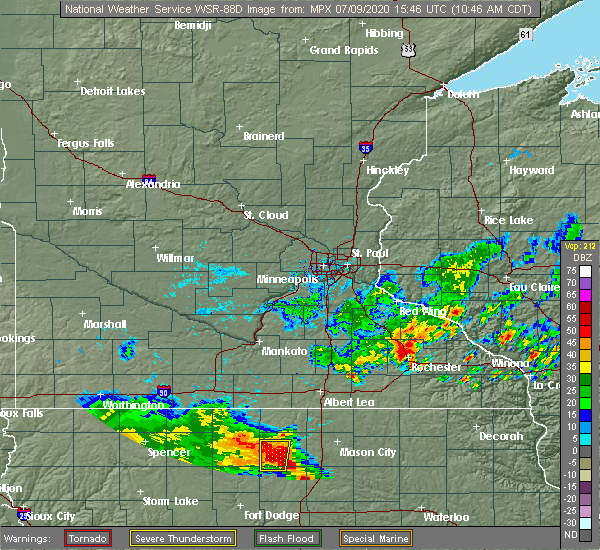 Radar Image for Severe Thunderstorms near Britt, IA at 7/9/2020 10:50 AM CDT
