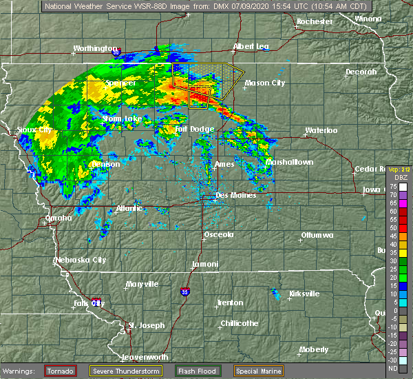 Radar Image for Severe Thunderstorms near Goodell, IA at 7/9/2020 11:00 AM CDT