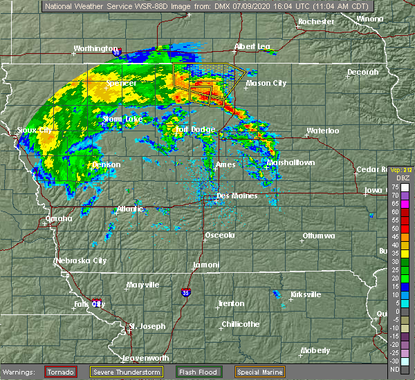Radar Image for Severe Thunderstorms near Britt, IA at 7/9/2020 11:07 AM CDT